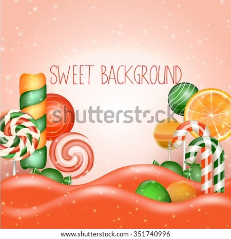 Candy land background.Vector - stock vector