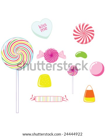 Candy - lollipops, suckers, and gummy candy isolated on white - vector illustration - stock vector