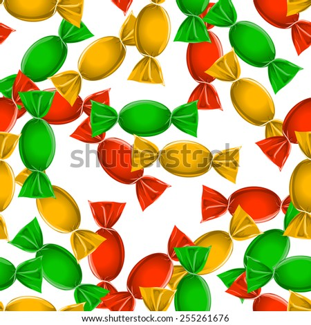 Candy seamless pattern over white. vector eps - stock vector