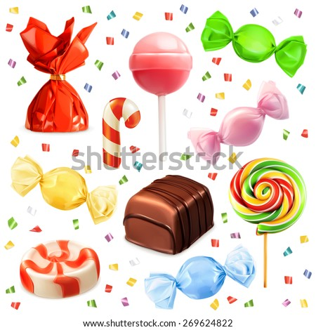 Candy set, vector icons - stock vector