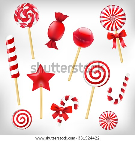 Candy Set With Gradient Mesh, Vector Illustration - stock vector