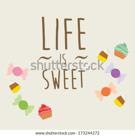 candy sweet with text greeting card - stock vector