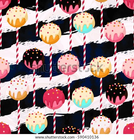 Candy vector seamless pattern with different colors chocolate cake-pops on stripped sticks. Pink, mint blue, gold, white, black and yellow colors. Marble and art-stroke stripes texture.