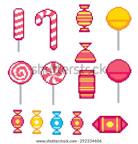 Candys pixel icons set. Old school computer graphic style. - stock vector
