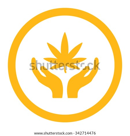 Cannabis Care vector icon. Style is flat rounded symbol, yellow color, rounded angles, white background. - stock vector