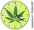 cannabis clock, abstract vector art illustration - stock vector