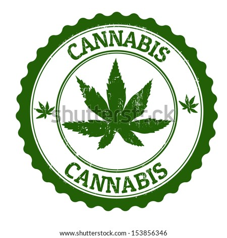 Cannabis grunge rubber stamp, vector illustration - stock vector
