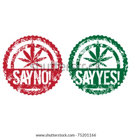 cannabis grunge stamps - stock vector