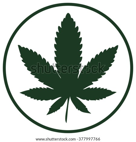 Cannabis Leaf Icon, Vector Illustration isolated on White Background. - stock vector