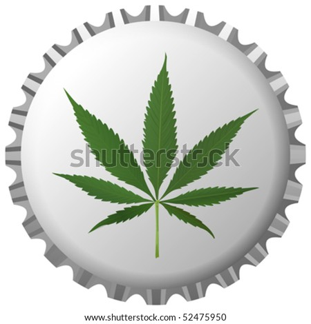 cannabis leaf on bottle cap against white background, abstract vector art illustration - stock vector