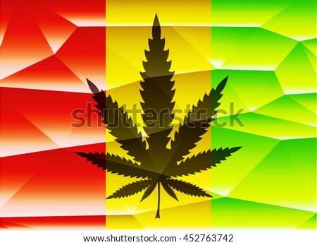 Cannabis leaf on rastafarian polygonal background. vector illustration