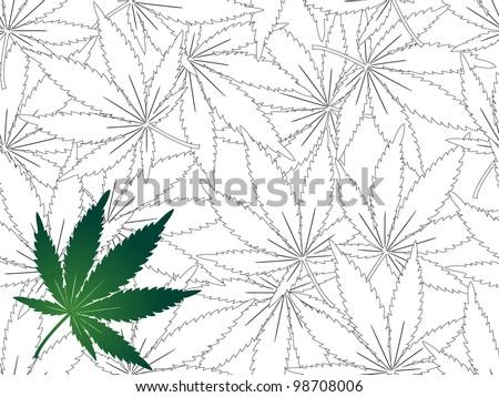 Cannabis leaf - seamless background - stock vector