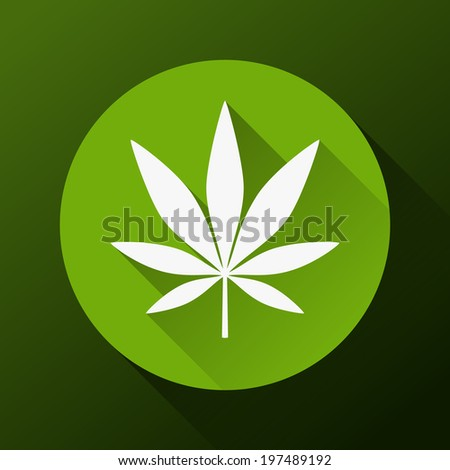 Cannabis leaf with long shadow - stock vector