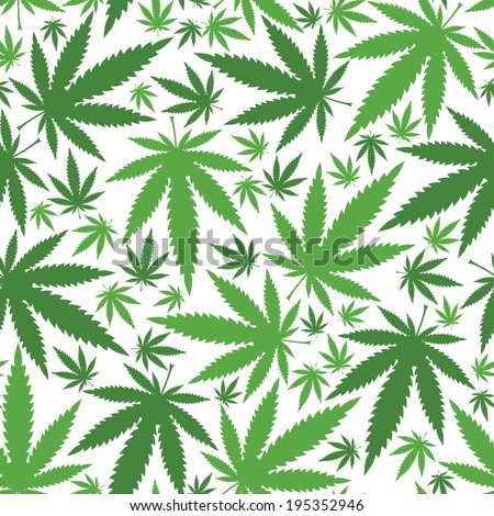 Cannabis leafs - seamless pattern - stock vector