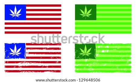 Cannabis nation, flags based on the US flag, with and without grunge. - stock vector
