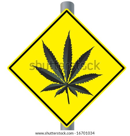 Cannabis roadsign - stock vector