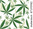 Cannabis seamless ornament over white background - stock vector