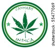 cannabis stamp against white background, abstract vector art illustration - stock photo