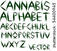 cannabis vector alphabet against white background, abstract art illustration - stock vector