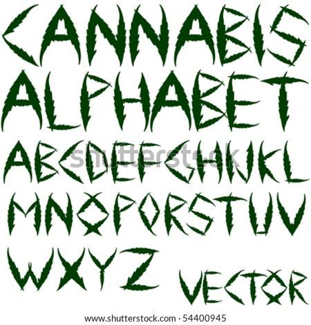 cannabis vector alphabet against white background, abstract art illustration - stock vector