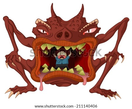 Cannibal monster cartoon, vector, horizontal, over white,  isolated  - stock vector