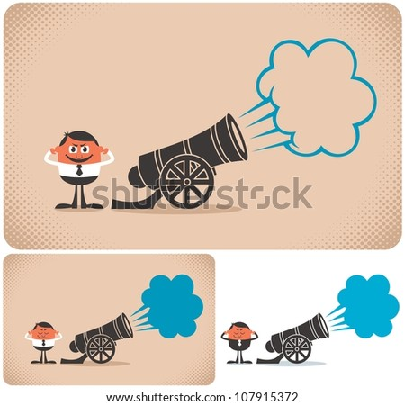 Cannon: Cannon and cannoneer. The illustration is in 3 versions. No transparency and gradients used. - stock vector