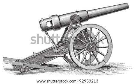 Cannon (15cm) / vintage illustration from Meyers Konversations-Lexikon 1897 - stock vector