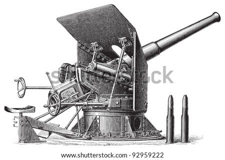 Cannon (10,5cm) / vintage illustration from Meyers Konversations-Lexikon 1897 - stock vector