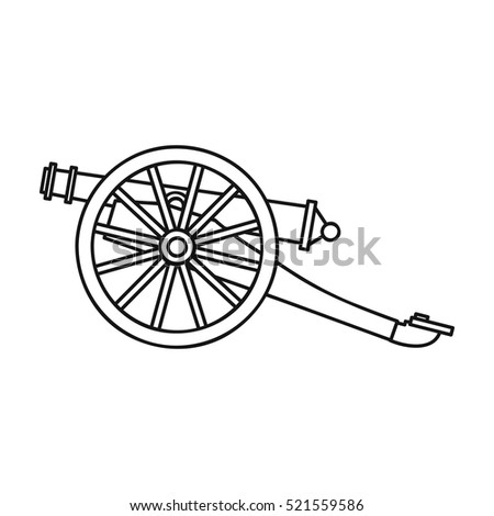 Cannon icon in outline style isolated on white background. Museum symbol stock vector illustration.