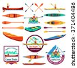 Canoe trails and rafting club emblem with kayaking equipment elements flat icons composition abstract isolated vector illustration  - stock vector