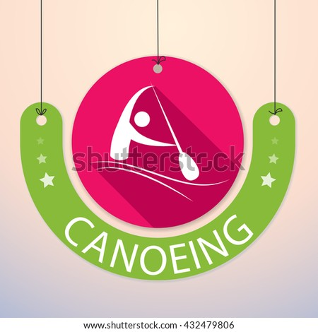 Canoeing - Colorful Paper Tag for Sports  - stock vector