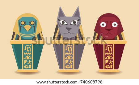 Canopic Jar Sphinx Egyptcute Canopic Jar Stock Vector Royalty Free