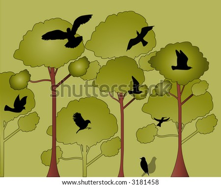 canopy of trees with birds vector - stock vector