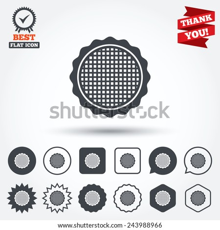 Canvas for embroidery sign icon. Tailor symbol. Circle, star, speech bubble and square buttons. Award medal with check mark. Thank you. Vector - stock vector