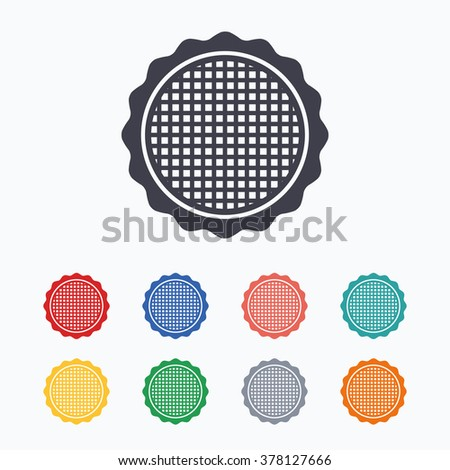 Canvas for embroidery sign icon. Tailor symbol. Colored flat icons on white background.