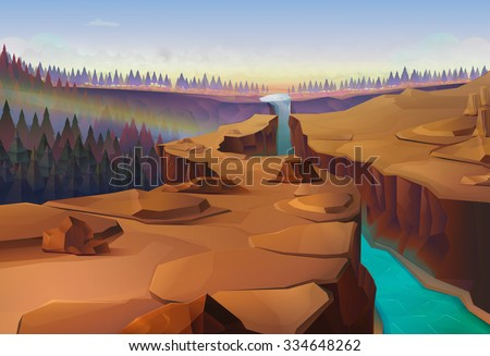 Canyon, nature vector background - stock vector