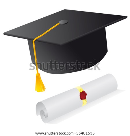 Cap and diploma for the student. Vector illustration - stock vector