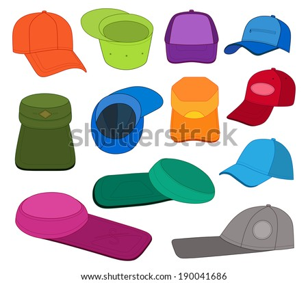 Cap colored vector illustration featured front, back, side, bottom, top  isolated on white. EPS8 file available. You can change the color or you can add your logo easily.