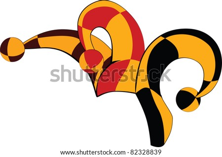 Cap of a joker.Cartoon - stock vector