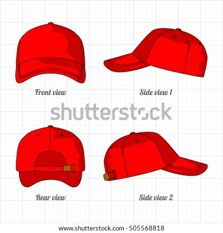 Cap Template Set Front Side Back Stock-Vektorgrafik 505568818 ...