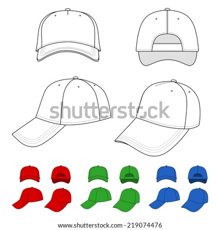 Cap vector illustration featured front, back, side, top isolated on white. You can change the color or you can add your logo easily.