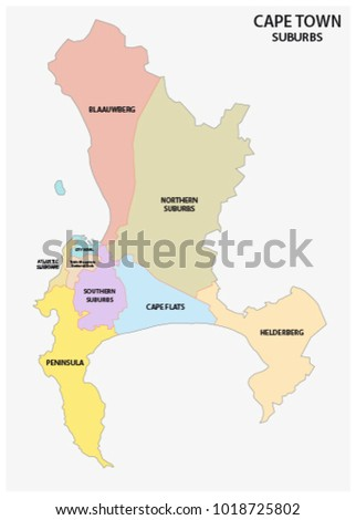 Cape Town Suburb Vector Map Stock Vector (Royalty Free) 1018725802 ...