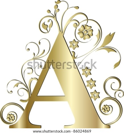 capital letter A gold - stock vector