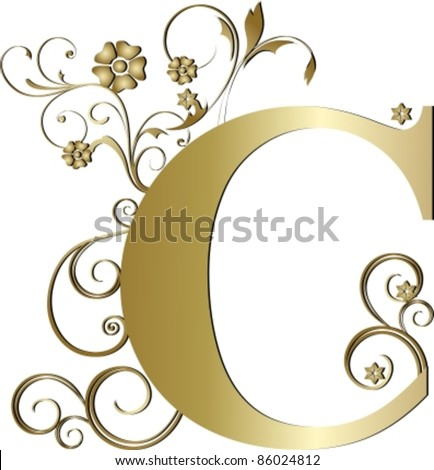 capital letter C gold - stock vector