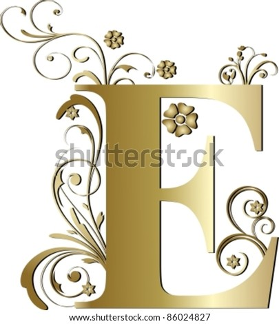capital letter E gold - stock vector