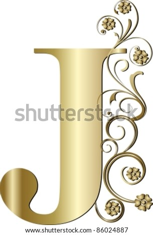 capital letter J gold - stock vector