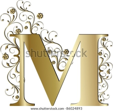 capital letter M gold - stock vector