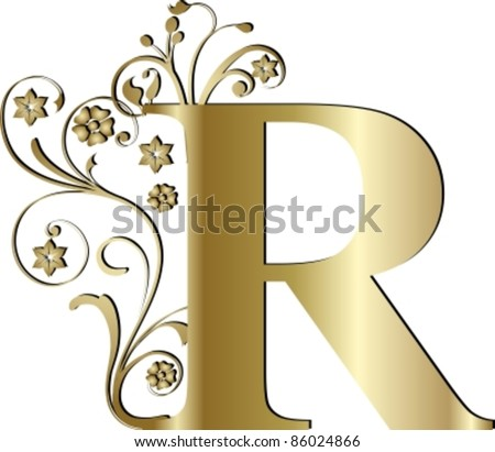 capital letter R gold - stock vector