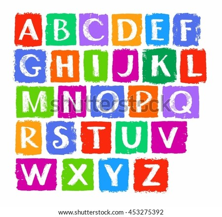 Capital letters of the English alphabet, white chalk, colored chalks. English alphabet, capital letters drawn with crayons. Simulated texture, vector. Font.