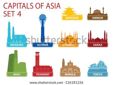 Capitals of Asia. Set 4 - stock vector